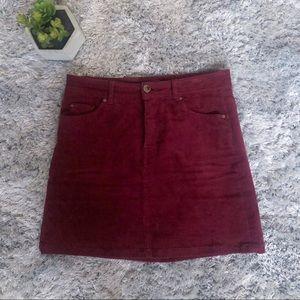 H&M Burgundy Corduroy A-line Skirt Size 2